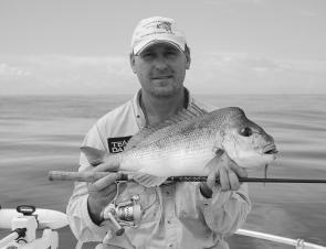 Chris Blanch knows how to land snapper on soft plastics. Check out the calm sea.
