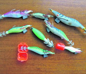 An array of squid jigs. Razorbacks with the extra hooks on the back work very well.