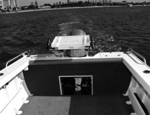 The Mako Craft's cockpit has a lot of fishing area, note the cockpit coaming – just the shot when leaning into the transom while connected to a fish.
