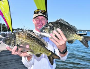 Steve Morgan with a pair of his Gippsland Lakes winning bream.