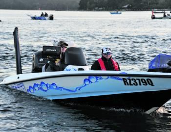 Morgan heads to the start line on day two of the Mercury Gippsland Lakes BREAM Qualifier.