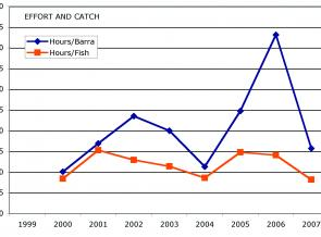 Graph 1: the fish/hour and barra/hour compiled for eight of the nine Barra Bounty's.