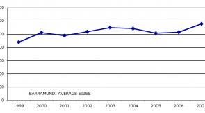 Graph 2: average size of all barra caught each year during the Barra Bounty.