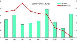 Graph 3: percentage of barra tagged during Barra Bounty's that have been recaptured.