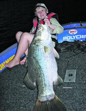 Blake Ehrlich caught this monster Proserpine barra on a trolled lure near the buoy line at the dam wall.