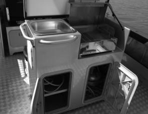 Organising a meal for crew would be easy thanks to a well set up galley.