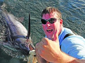 Nigel Rae with a tagged blue marlin that gave Fish Whisperer the win in the SCGFC Classic.
