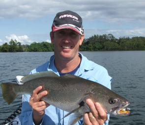 Find a deep hole with a nice drop-off, rig a soft plastic on a Rev Head and maximise your chances on Clarence jewfish.