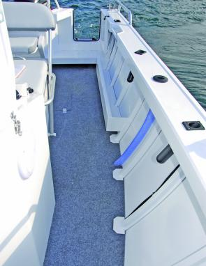 Wide fully welded decks of the Trophy feature 3 rod holders per side plus a total lack of vibration.