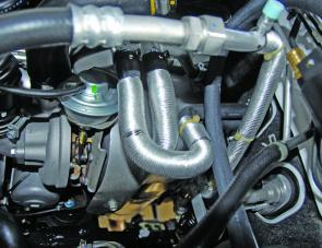 A convenient loop in the engine's cooling system was cut and extensions set up to service the Glind heat exchanger.