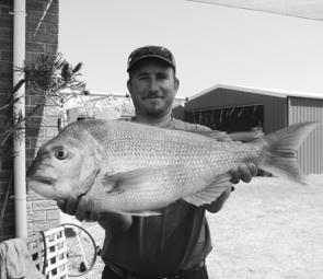 Jamie Behrens with some a quality Portarlington Snapper.