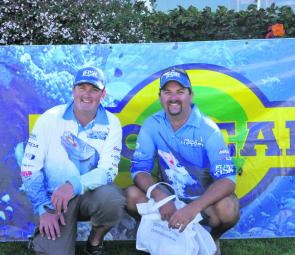 The Maria Lures Best Bag Winners with a whopping 6.12kg bag Team Cranka Lures Steve Wheeler and Gary Lockyer display their $1000 Maria Lures Prize Pack.