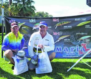 The Eco-Gear Big Bream Winners Team Tackle Worlds Blair Bryant and Stephen Hume post for the cameras with their swag of Eco-Gear Lures