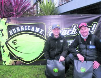 Team Puppetry of the Crab's Steve Wheeler and Darren Weda pose with their Hurricane Monster Movers prize packs