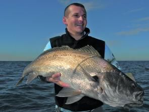 Charles Britton with a mulloway. They will become active chasing the build up of mullet in the entrances.