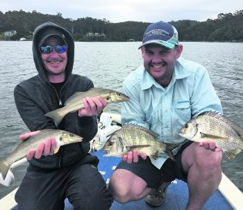 Pete and Rob with a few fish caught on surface lures. These were part of 40 odd fish caught for the day.