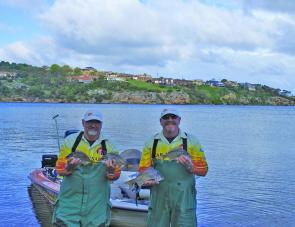 Team Solar Dynamics display some of the bream that gave them the lead after Day One.