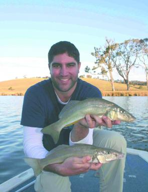 Matt Predau from Tackle World in Canberra with two cracking sand whiting caught on plastics and blades in icy 9° water. Whiting are certainly viable options in Winter if you think outside the square.