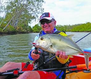 This tough fighting trevally gave the author some curry around the kayak.