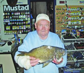 John Alcote with a bream weighing 1.49kg, caught from the bank at Lake Corringle.