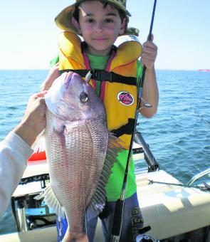 Under the guidance of his father Joe, young Thomas Bonnici, landed his first ever snapper on a pilchard in ideal conditions off Altona.
