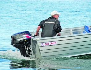 A 30hp outboard is ample power for the little Reel Mate except under the heaviest loads.