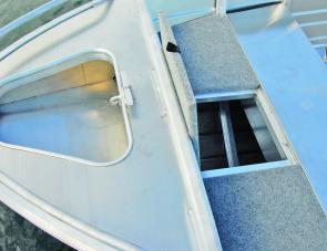 Something not usually seen on an entry-level tinny is a large front storage area complete with hatch.