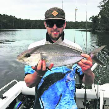 David was throwing lures for mulloway in the Clyde, and to his surprise he pulled up an amberjack!