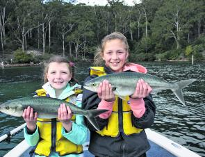 The author's daughters Sophie (9) and Jessica (12) had a great time catching salmon one morning at Pambula Lake. The girls caught plenty and let them all go, great family fun and times to remember.