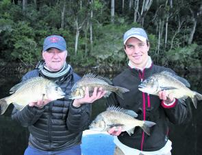 Tom and John Williams with a decent brace of bream caught on softies. The boys managed 33 for the day and all released.