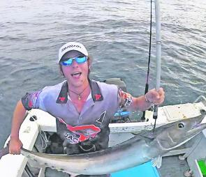 This month may be the last to catch some warm water pelagics. Jacob Lowe bagged this wahoo trolling a garfish off Coffs.