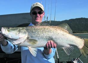 Jon Williams from Chepstow, Wales, caught this early season 83cm barra aboard Blackout Sportfishing Charters.