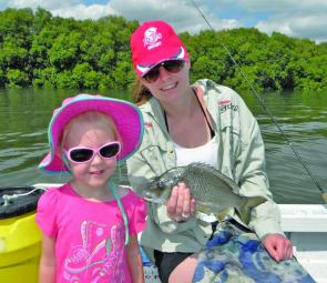 Elise and Celeste with a large bream by-catch while chasing whiting on the passage.