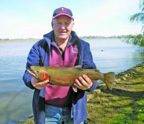 John McNeight with a Lake Wendouree rainbow trout weighing 1.8kg. Photo courtesy of Noel Feltham.