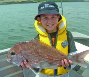 Jack Sherriff with a sample of our recent snapper catches.