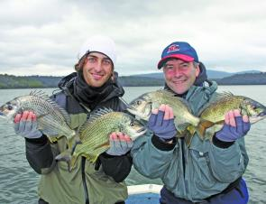 Mark and Tristan Parker with a brace of cracking bream caught on a cold and wet day. These fish were released in great condition.