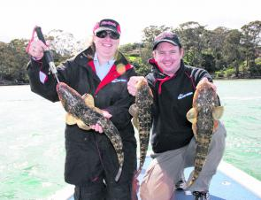 Aaron and Michelle had a solid morning session in Merimbula Lake, catching and releasing 29 flatties to 75cm.