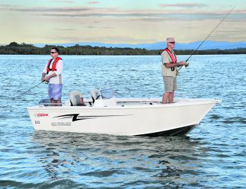The 469 Outlaw lets two anglers comfortably fish up front, with another one or two working aft.