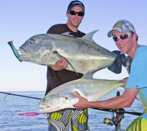 A double hook-up on GT and queenfish show they share the same types of habitat.