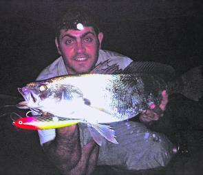 Steve Patti with a schoolie on a Croacker Lure Jewie Jewel.