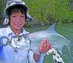 Tarpon are great fun for all; G man with a good example.