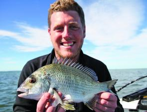 Edward Berry with a healthy Redcliffe bream.