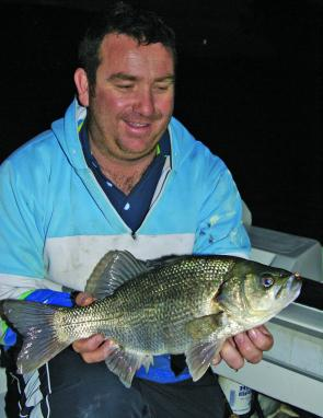 After dark some big bass often come out to play. Andrew Madden scored this chunky fish on a surface lure.