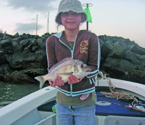 Rebecca Cree caught this fine bream at the Harbour.