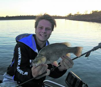 Kaleb Oxley with a 39cm golden perch.