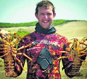Nathan 'Watto' Watson with a couple of nice South West Coast crays.