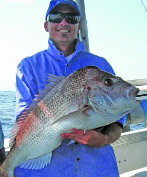 Anthony with a very solid plastic - caught snapper which succumbed to a 7' white shad.