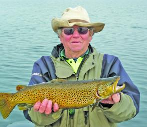 Brian Nygaard's Lake Elingamite brown trout of 3kg caught on mudeye under a float.