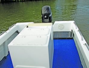 The optional Pro Fish Box makes a lot of sense in a dedicated fishing boat. Features include a livewell with spray bar, two banks of tackle trays and an ice box.