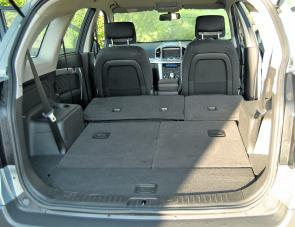 With rear seats dropped, there's a huge amount of cargo space in the Captiva 7.
